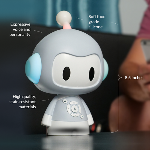 Codi Entertains Your Child with Safe and Fun Content Codi is an AI-enabled toy that provides children with over 200 fully curated, classic songs and stories to provide developmental support outside of the classroom. Recommended for children aged 12 months and older.