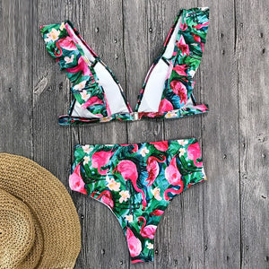 Tropical Print Push Up Bikini