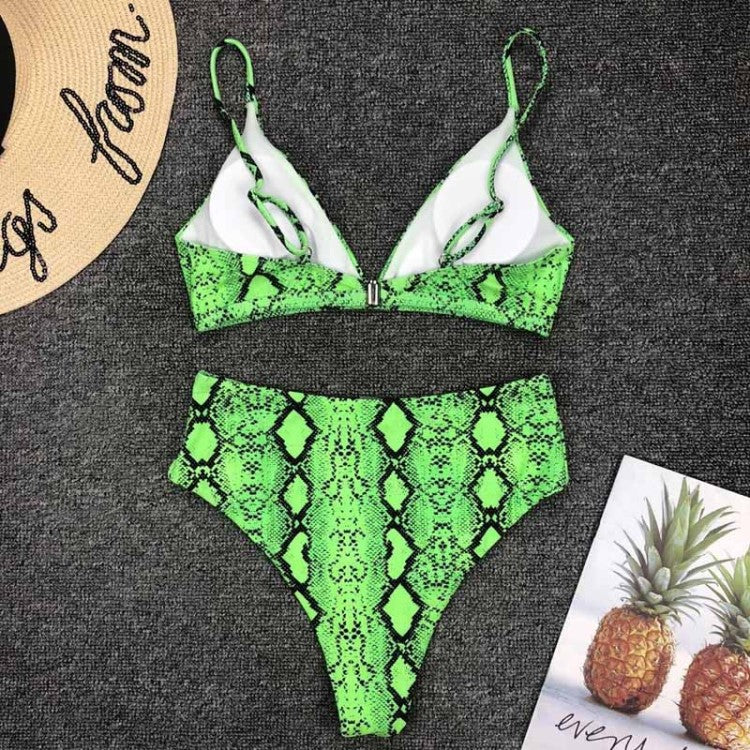 Bright Ellie Cheap Swimming Costumes in Green Snake Print