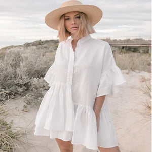 Bright Ellie Button Down Shirt Dress Cover Up