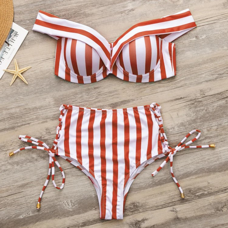 Pearl Two Piece Striped Swimsuit