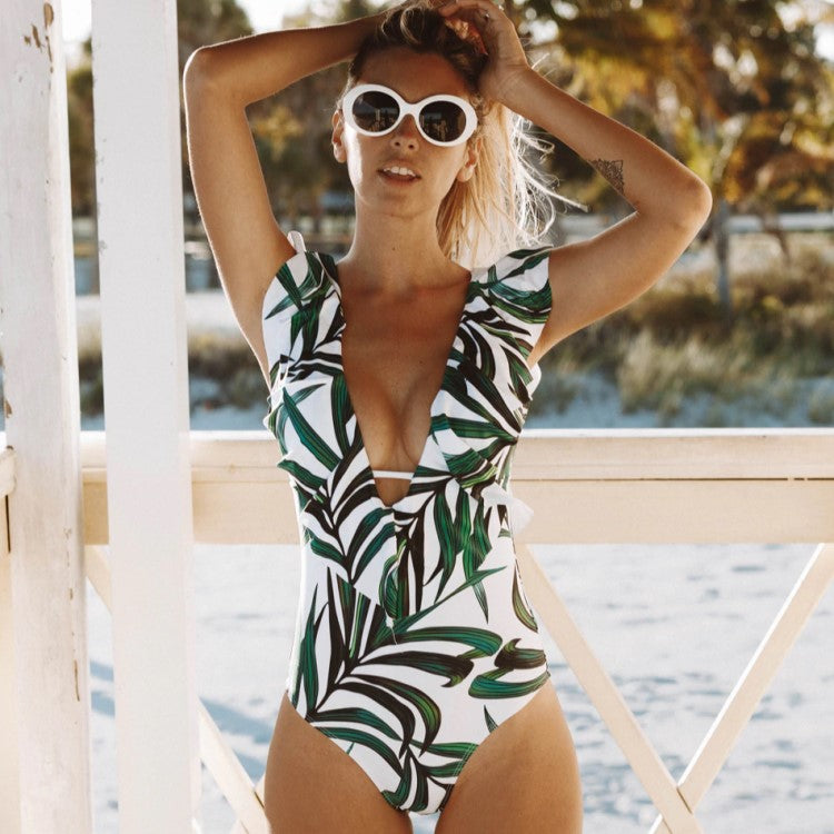 Flounce One Piece Plunge Swimsuit