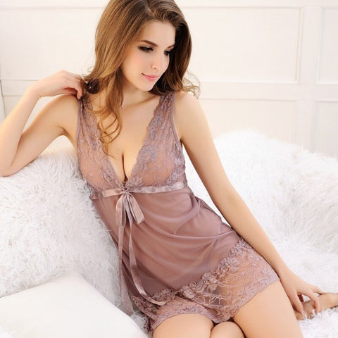 Ellie Sheer Lace Nightgown