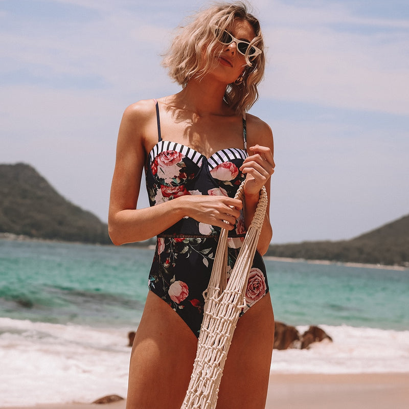 Ellie Floral Print One Piece Swimsuit