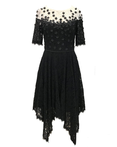 Handkerchief Floral Applique Lace Dress
