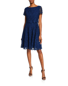 Fit and Flare Popover Lace Dress Blue - 1