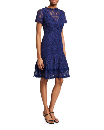 Short Sleeve Double Ruffle Lace Dress