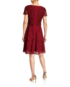 Fit and Flare Popover Lace Dress Maroon - 2