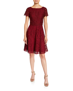 Fit and Flare Popover Lace Dress Maroon - 1