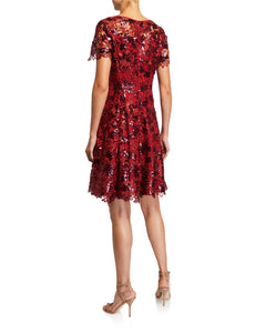 Sequin Lace Fit and Flare Dress Red - 2