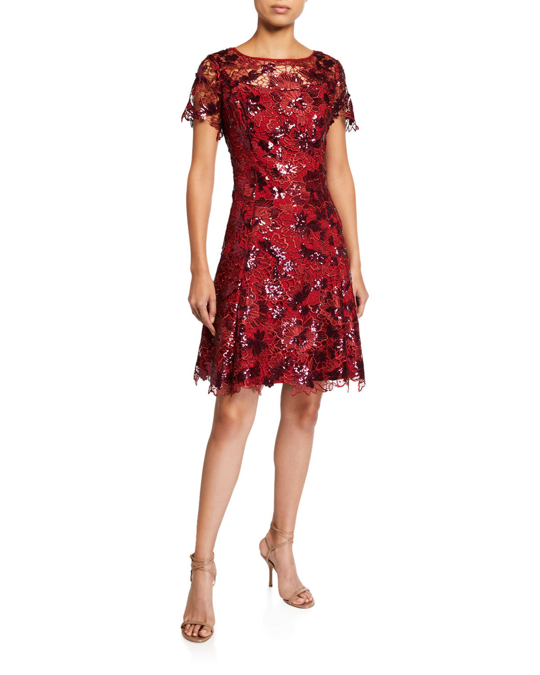 Sequin Lace Fit and Flare Dress Red - 1