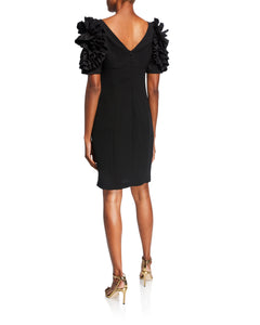 Dramatic Rosette Crepe Dress - 3