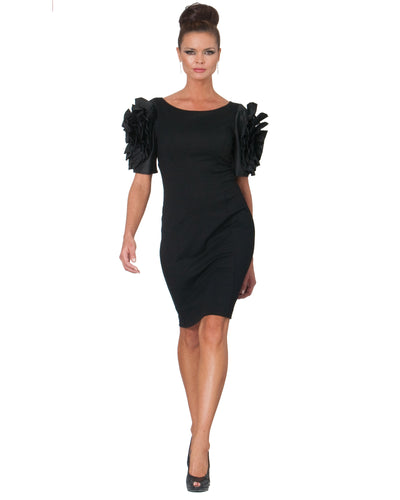 Dramatic Rosette Crepe Dress - 1