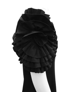 Dramatic Rosette Crepe Dress