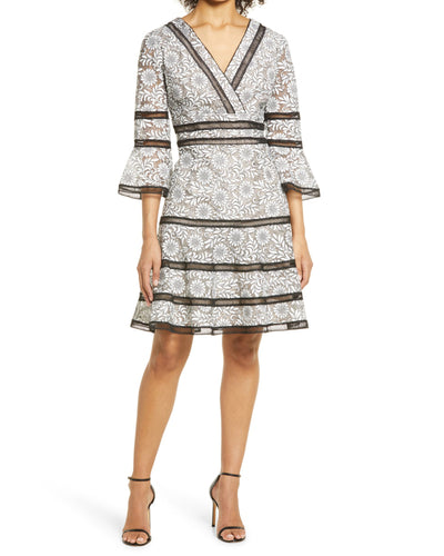 Surplice Neckline Bell-Sleeve Lace Dress in White