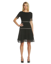 Load image into Gallery viewer, Lace-Trim Crepe Fit & Flare Dress - 1