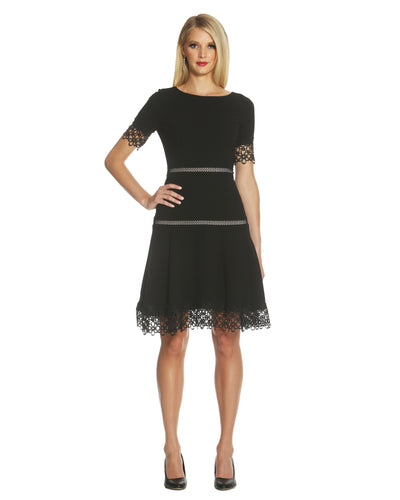 Lace-Trim Crepe Fit & Flare Dress - 1