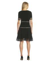 Load image into Gallery viewer, Lace-Trim Crepe Fit & Flare Dress