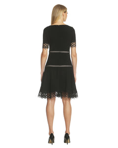 Lace-Trim Crepe Fit & Flare Dress - 2