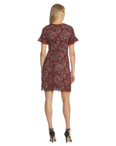 Flutter Sleeve Lace Dress Red - 2
