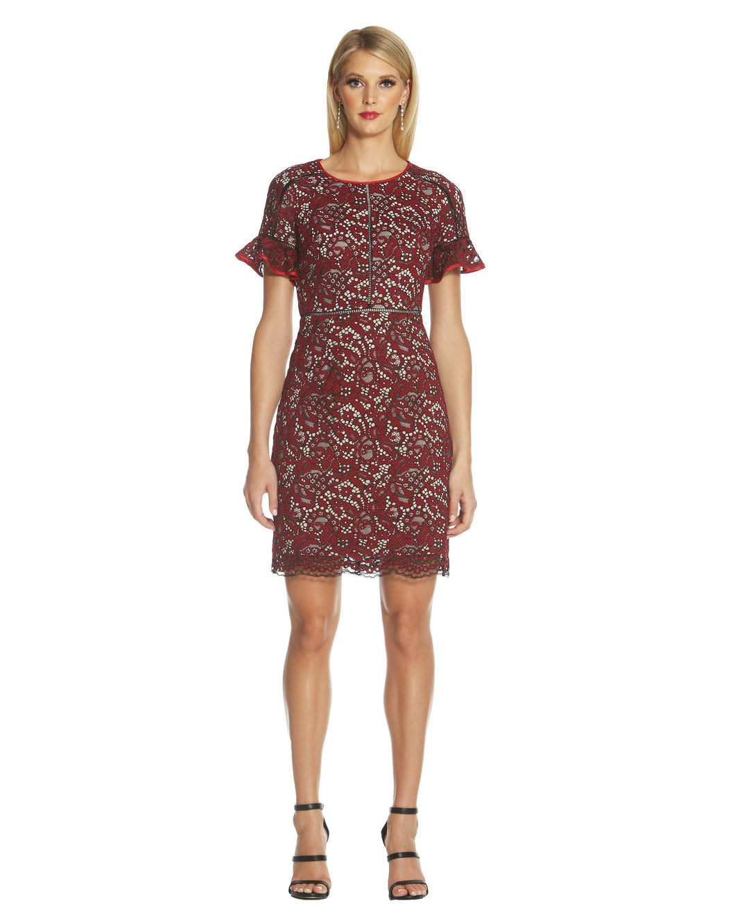 Flutter Sleeve Lace Dress Red - 1