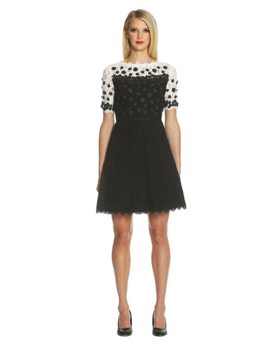 Floral Applique Lace Dress - 1