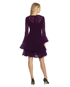 Double Ruffle Lace Dress Purple - 2