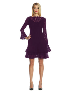 Double Ruffle Lace Dress Purple - 1