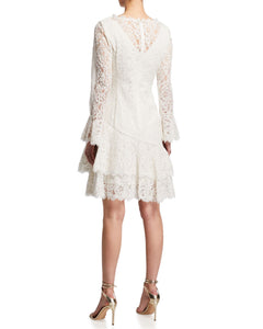 Double Ruffle Lace Dress in White