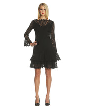 Load image into Gallery viewer, Double Ruffle Lace Dress Black - 2