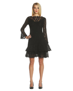 Double Ruffle Lace Dress Black - 2