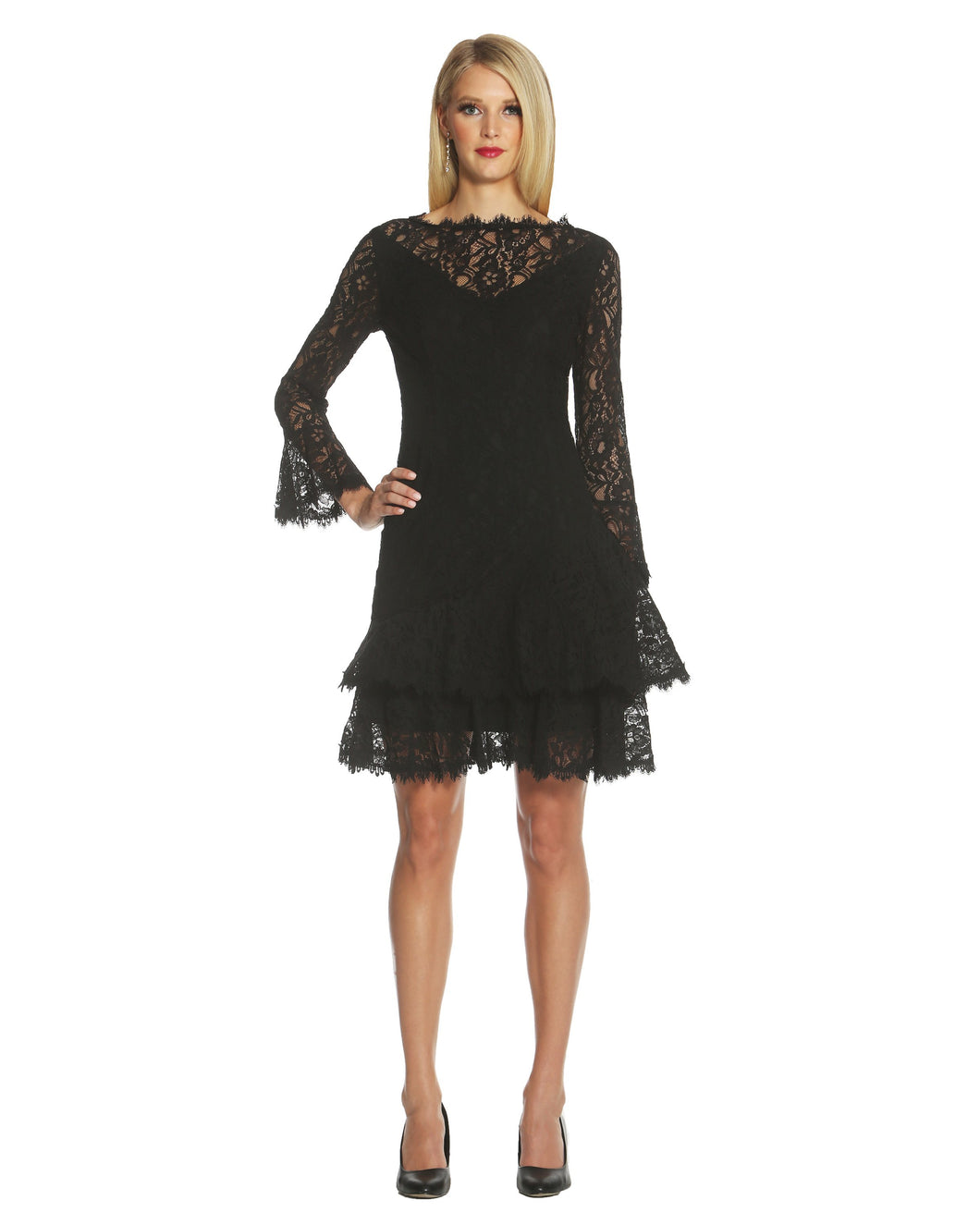 Double Ruffle Lace Dress Black - 1