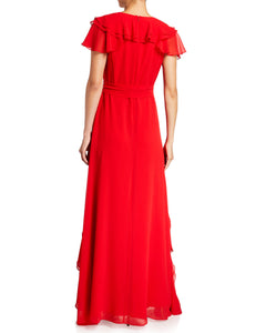V-Neck Ruffle Georgette Gown Red - 2