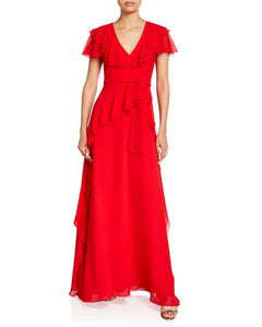 V-Neck Ruffle Georgette Gown Red - 1