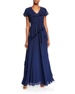 V-Neck Ruffle Georgette Gown Blue - 1