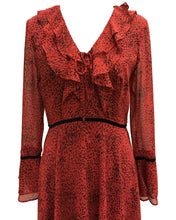 Load image into Gallery viewer, Printed V-Neck Hanky Ruffle Dress Red - 3