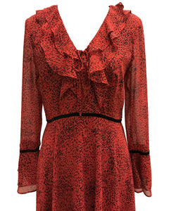 Printed V-Neck Hanky Ruffle Dress Red - 3