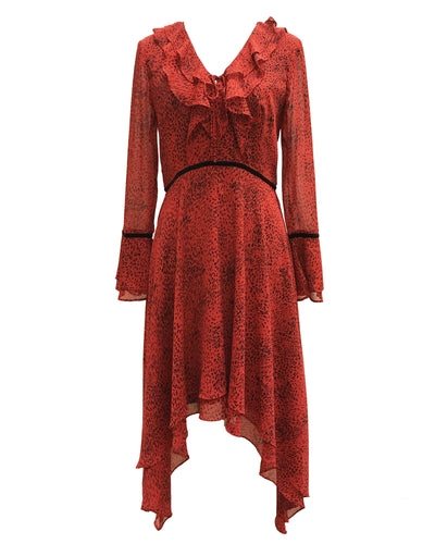Printed V-Neck Hanky Ruffle Dress Red - 1