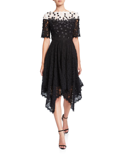 Handkerchief Floral Applique Lace Dress - 1