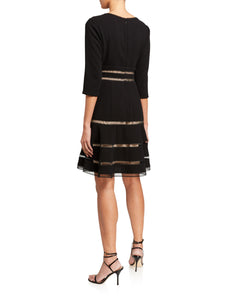Surplice Crepe Dress with Trim Detail - 2