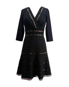 Surplice Crepe Dress with Trim Detail - 3