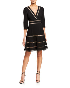 Surplice Crepe Dress with Trim Detail - 1