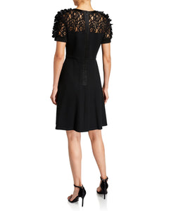 Ponte Knit Dress with Floral Applique on Sleeves - 2