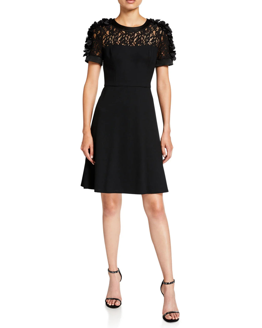 Ponte Knit Dress with Floral Applique on Sleeves
