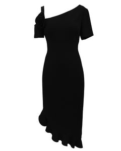 Asymmetric Dress with Floral Detail black