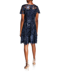 Sequin Lace Fit and Flare Dress Blue - 2