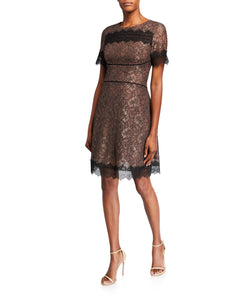 Fit & Flare Brown Lace Dress - 1