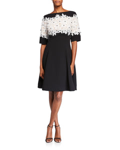 Crepe Dress with Floral Lace Bodice - 1