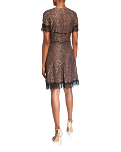Fit & Flare Brown Lace Dress - 2