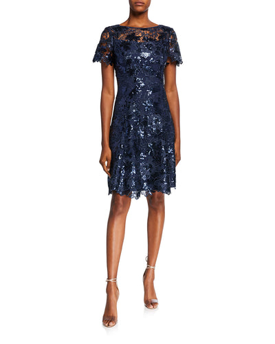 Sequin Lace Fit and Flare Dress Blue - 1